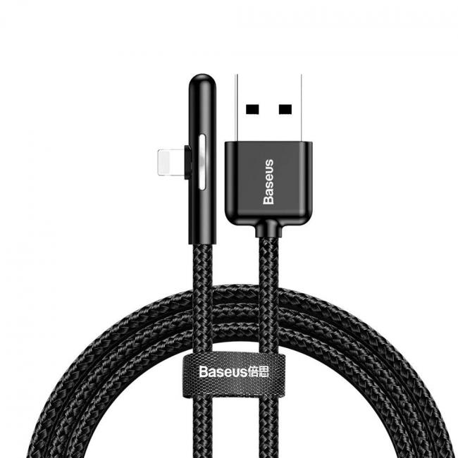 Baseus Iridescent Lamp Mobile Game USB Cable For iPhone 2.4A 1m, Black - CAL7C-A01