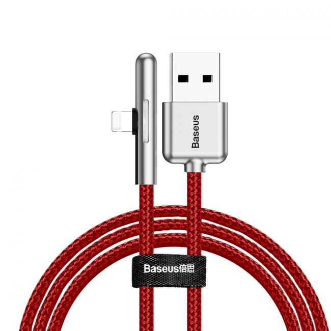 Baseus Iridescent Lamp Mobile Game USB Cable For iPhone 2.4A 1m, Red - CAL7C-A09