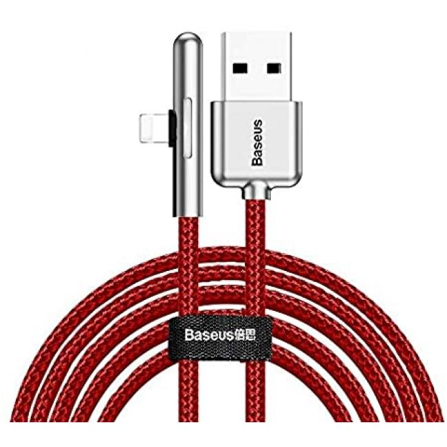 Baseus Iridescent Lamp Mobile Game USB Cable For iPhone 1.5A 2m, Red - CAL7C-B09