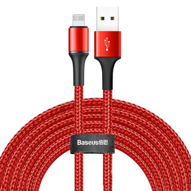 Baseus Halo USB Lightning Cable For iPhone 3m 2A Micro, Red - CALGH-E09