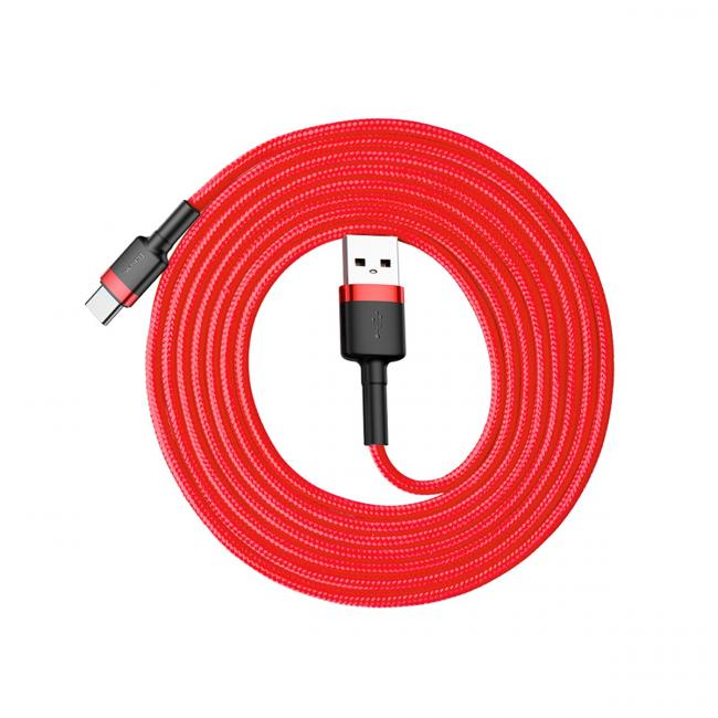 Baseus Cafule USB Cable For Lightning 2.4A 2M, Red - CALKLF-C09