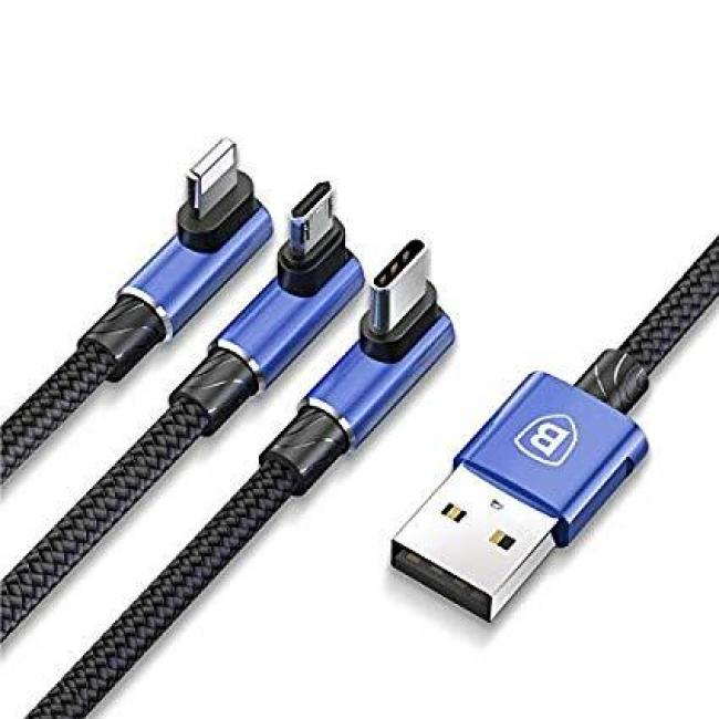 Baseus MVP 3 IN 1 Mobile Game USB Cable 3.5A 1.2m, Blue - CAMLT-WZ03