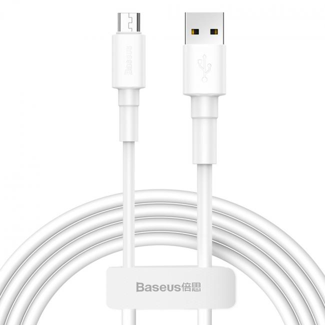 Baseus Mini USB Cable For Micro 2.4A 1m, White - CAMSW-02