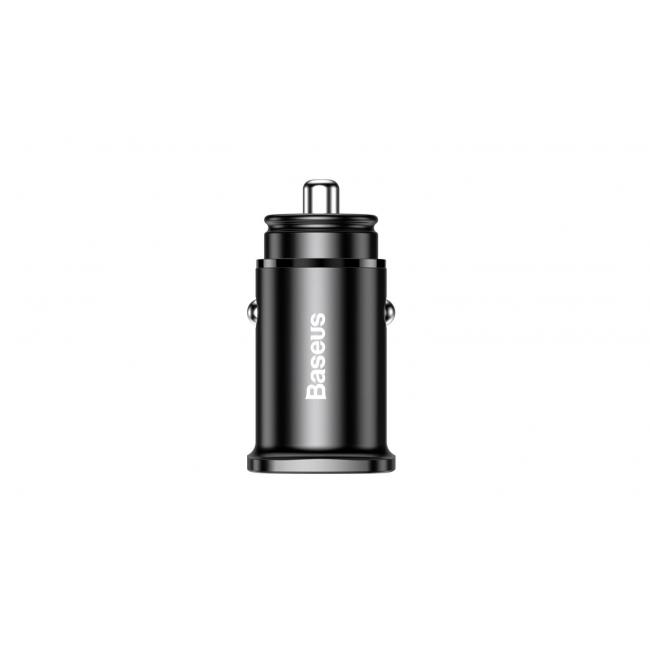 Baseus Square metal PPS Car Charger A+C 30W, Black - CCALL-AS01