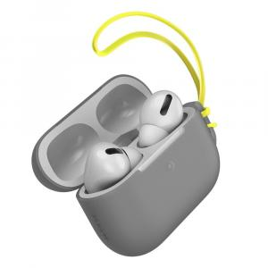 Baseus Let''s Go Jelly Lanyard Case for AirPods Pro with Yellow Lanyard , Grey - WIAPPOD-D0G