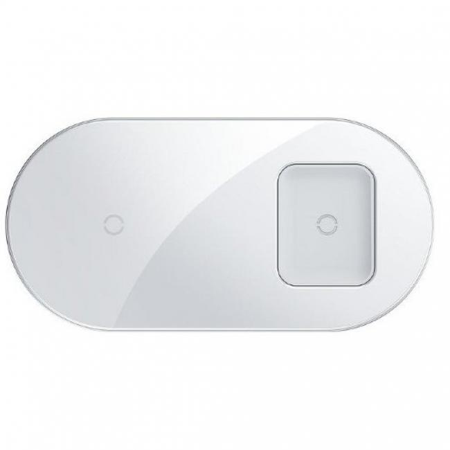 Baseus Simple 2in1 Wireless Qi Charger for Smartphones and AirPods 18W, White - WXJK-02
