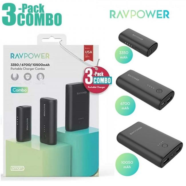 RAVPower Power Bank COMBO 3-Pack Portable Charger (3350mAh + 6700mAh + 10050mAh) - Black