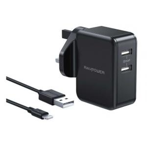 RAVPower 2-Pack Wall Charger Combo, Black - RP-PC119