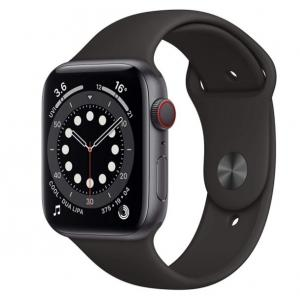 Apple Watch Series 6 (GPS), 44mm, Space Gray Aluminum Case with Black Sport Band - M00H3