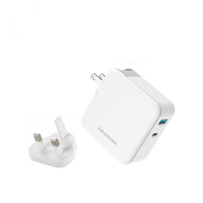 RAVPower 45W: PD 45W+QC 3.0 18W AC Wall Charger UK, White - RP-PC081