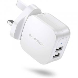 RAVPower Prime 17W 2-Port UK USB Wall Charger, White - RP-PC121-W