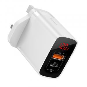 Baseus Mirror Lake PPS Digital Display Quick Charger A+C UK, White - CCJMHC-D02