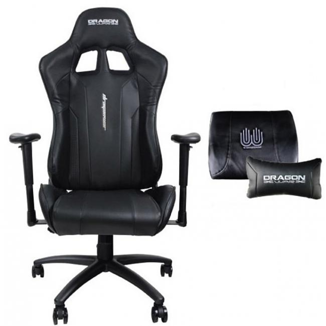 Dragon War Gaming Chair 2D Armrest With Massager Pillow Black Color- Gc-007
