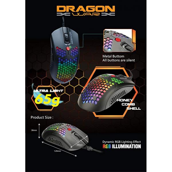 Dragon War Honeycomb RGB Gaming Mouse With Macro Function 12000 Dpi - G25