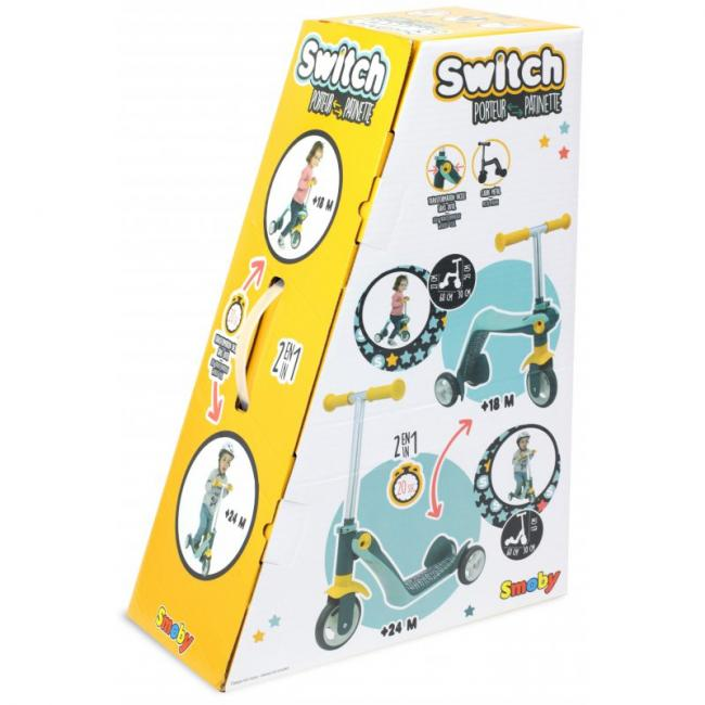 Smoby 2 In 1 Reversible Runner Scooter - 750612