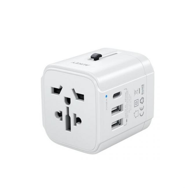 Aukey Universal Adapter with 3 Ports, White - PA-TA01 WH