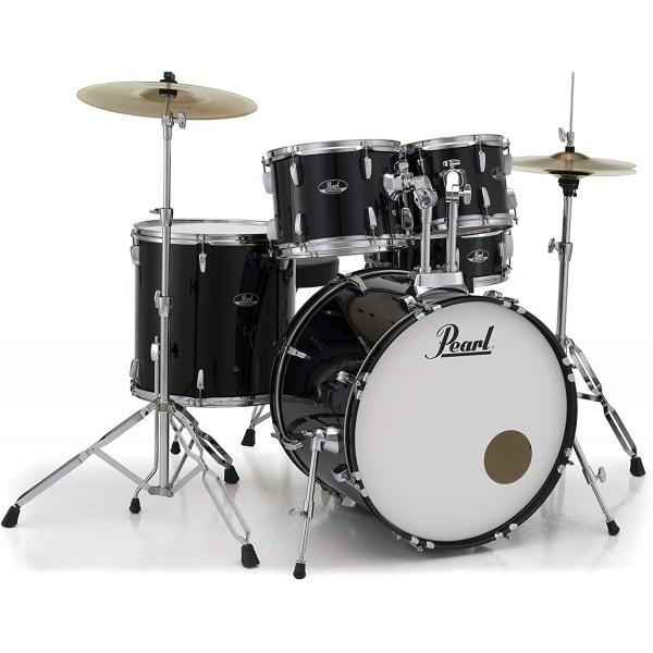 Pearl Roadshow Drum Set 5-Piece Complete Kit with Cymbals and Stands, Jet Black - RS525SC-C31