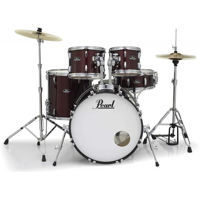 Pearl Roadshow Drum Set 5-Piece Complete Kit with Cymbals and Stands, Wine Red - RS525SC-C91