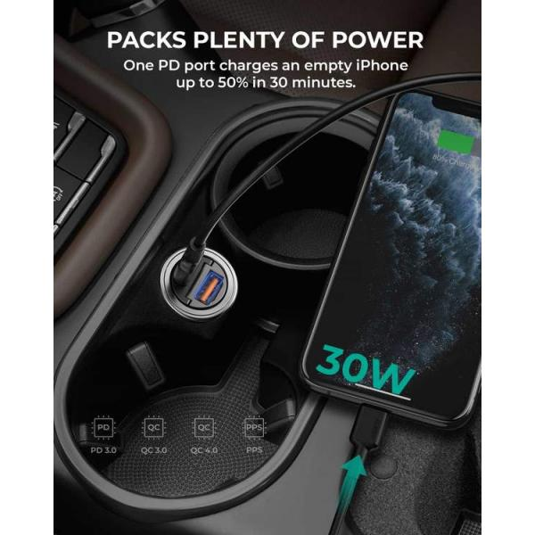 Aukey 30W PD Metal Dual Port Fast Car Charger with PPS & QC 3.0 - CC-A3