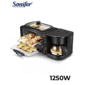 SONIFER 1050-1250W Electric Oven 3 In 1 Breakfast Making Machine Multifunction Drip Coffee Maker Household Bread Pizza Frying Pan Toaster Sonifer - SF-4004