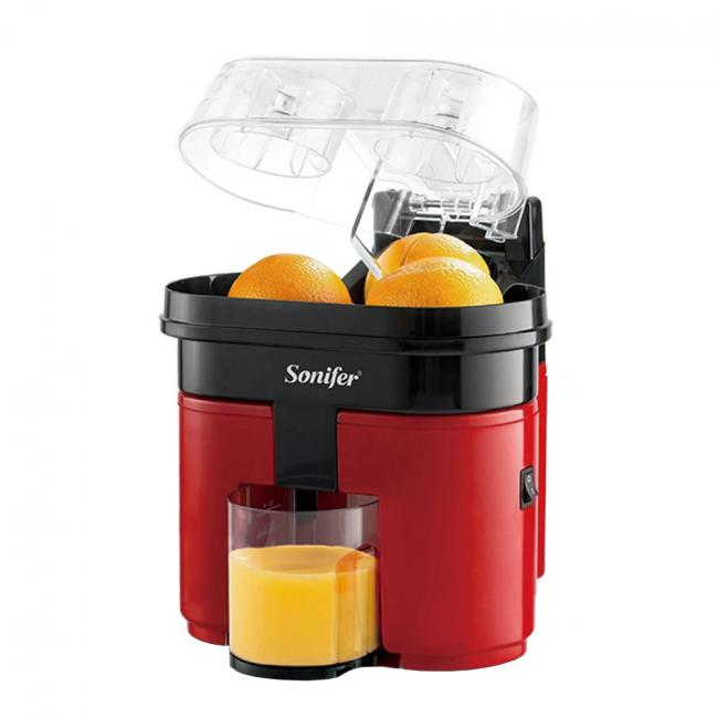 SONIFER Fast Double Electric Juicer With Anti-drip Valve Citrus Fruits Squeezer 90W / 500ml - SF-5521 - BLACK/RED