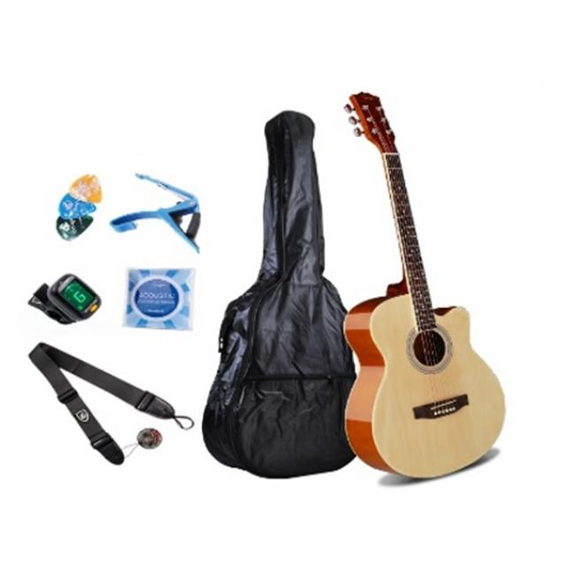 Smiger 40inch Acoustic Guitar Pack, Natural - GA-H10-N