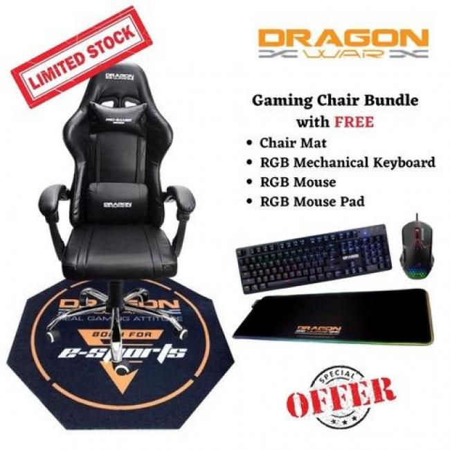 Gaming Chair Bundle Offer (Gaming Chair with Free Chair Mat, Keyboard, Mouse, Mouse Pad)