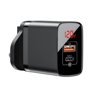 Baseus Mirror Lake PPS Digital Display Quick Charger A+C UK, Black - CCJMHC-D01