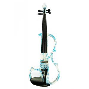 Kinglos 4/4 White Blue Flowers Colored Advanced Electric Violin - DSG-1201