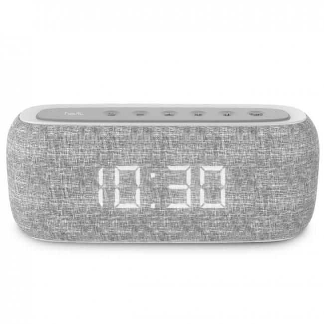 Havit Bluetooth Speaker with Radio and Clock, Grey - M29