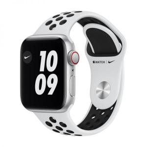 Apple Watch Nike SE, 44mm Silver Alum Case with Pure Platinum/Black Nike Sport Band, GPS+Cellular - MG083