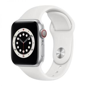 Apple Watch S6, 44mm Silver Aluminium Case with White Sport Band, GPS+Cellular - MG2C3