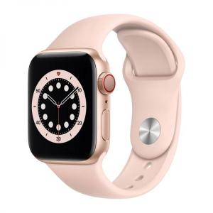 Apple Watch S6, 44mm Gold Aluminium Case with Pink Sand Sport Band, GPS+Cellular - MG2D3