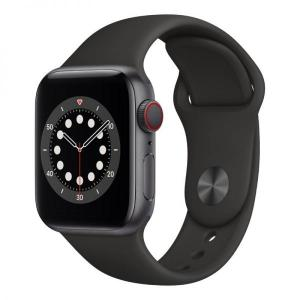 Apple Watch S6, 44mm Space Grey Aluminium Case with Black Sport Band, GPS+Cellular - MG2E3