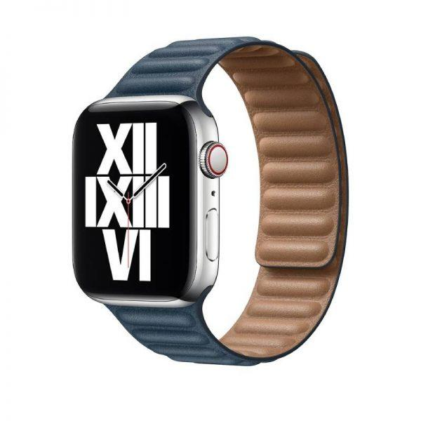 Apple 44mm Leather Link, Baltic Blue - Small - MY9K2