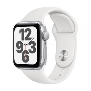 Apple Watch SE, GPS 44mm Silver Aluminium Case with White Sport Band - MYDQ2