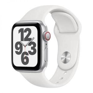 Apple Watch SE, 44mm Silver Aluminium Case with White Sport Band, GPS+Cellular - MYEV2