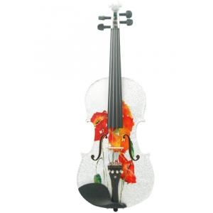 Kinglos 4/4 Butterfly Flower Colored Ebony Fitted Solid Wood Violin - NHS-3001