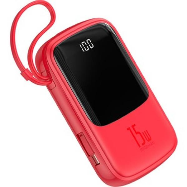 Baseus Q Pow Digital Display 3A Power Bank 10000mAh With Type-C Cable, Red - PPQD-B09