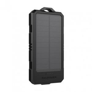 RAVPower 15000mAh Solar Portable Waterproof Power Bank, Black - RP-PB124