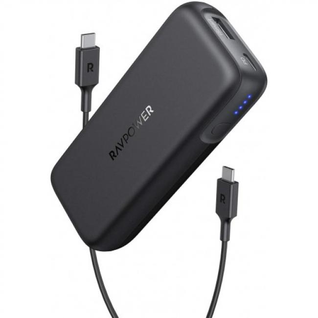 RAVPower 2-Port PD Portable 29W 10000mAh Power Bank, Black - RP-PB186-B