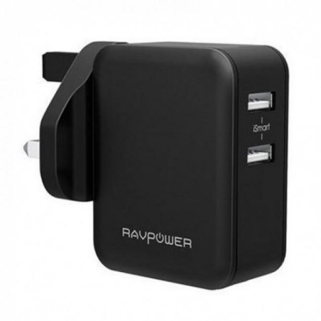 RAVPower 24W Dual Port UK Wall Charger, Black - RP-PC001-B