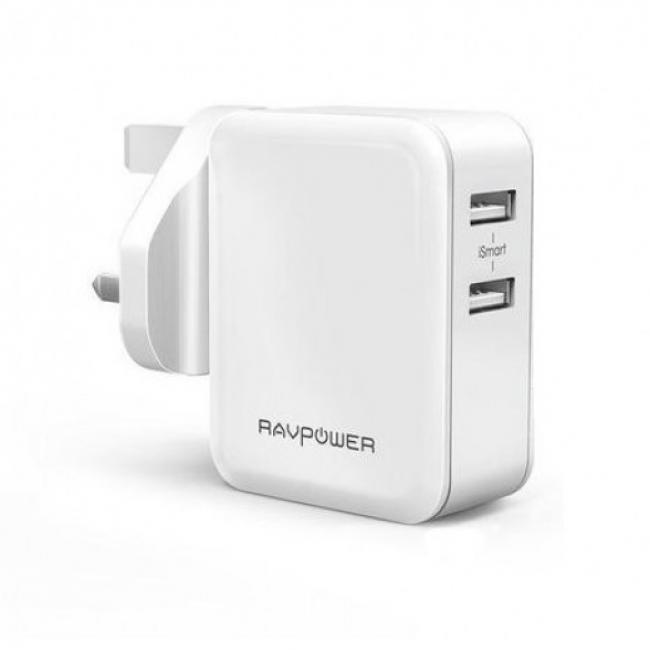 RAVPower 24W Dual Port UK Wall Charger, White - RP-PC001-W