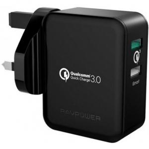RAVPower 30W Dual Port QC3.0 Wall Charger (UK), Black - RP-PC006