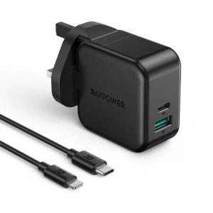 RAVPower 2-In-1 Pioneer Wall Charger With Cable, Black - RP-PC109