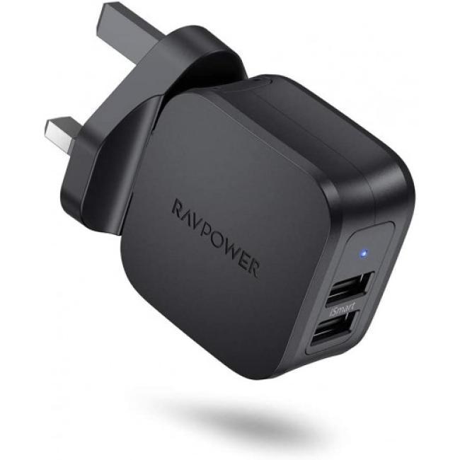 RAVPower Prime 17W 2-Port UK USB Wall Charger, Black - RP-PC121-B