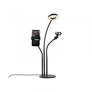 Havit 3 in 1 Phone Stand With Microphone Clip Ring Light, Black - ST7112
