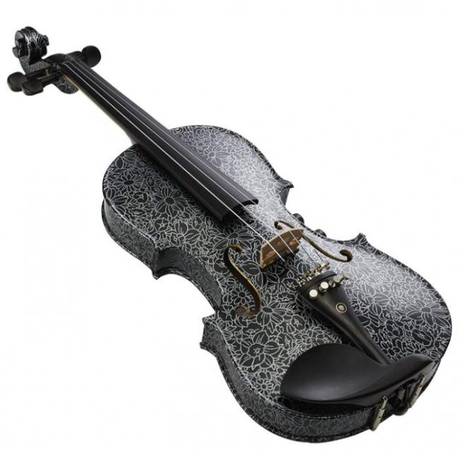 Kinglos 4/4 Black Flowers Colored Solid Wood Acoustic Electric Violin - YSDS-1306