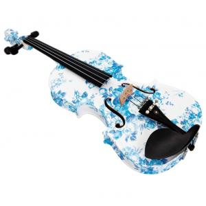 Kinglos 4/4 White Blue Flower Colored Ebony Fitted Solid Wood Violin - YZ-1201-4/4